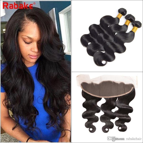 Body Wave Hair Bundles with Lace Frontal 13x4 Swisss Lace Best Brazilian Virgin Human Hair Extensions Unprocessed Natural Hair Weaves Rabake