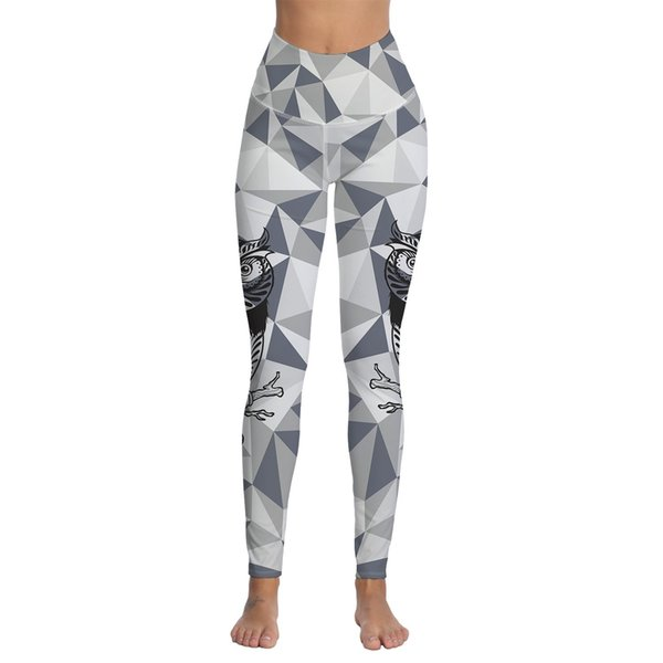 Womens Owl Geometric Printed Sports Gym Yoga Workout Athletic Leggings Pants