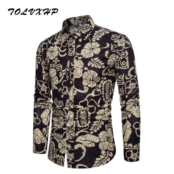 New Brand-Clothing 2018 Fashion Shirt Male Broken flower Dress Shirts Slim Turn-Down Men Long Sleeve Mens Linen Hawaiian Shirt