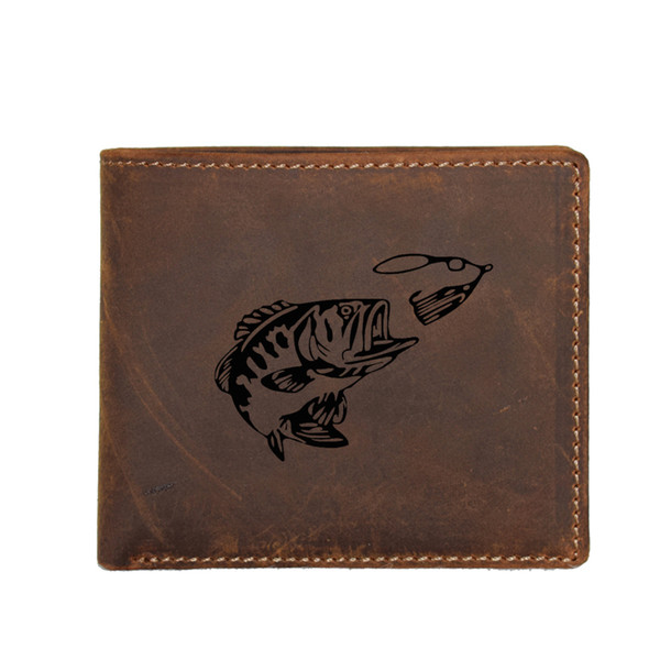 Custom Name leather Wallet Men Coin Purse Bags Male FRID Blocking Multi card Holders Engraved Bass Fishing Fish Function Wallet