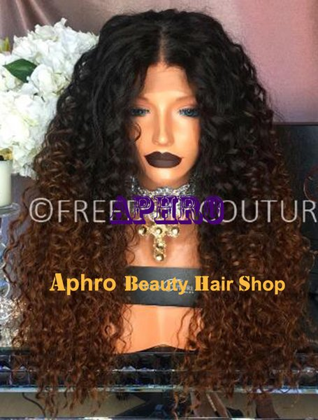 Long Kinky Curly Ombre Brown Full Lace 5x5 Inch Silk Top Wigs With Black Roots European Human Hair Full Lace Wigs With Silk Base Glueless