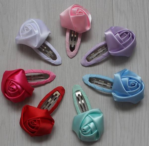 70pcs 4cm handmade satin ribbon hair clip flower for girls hair accessories,baby hair clip flowers