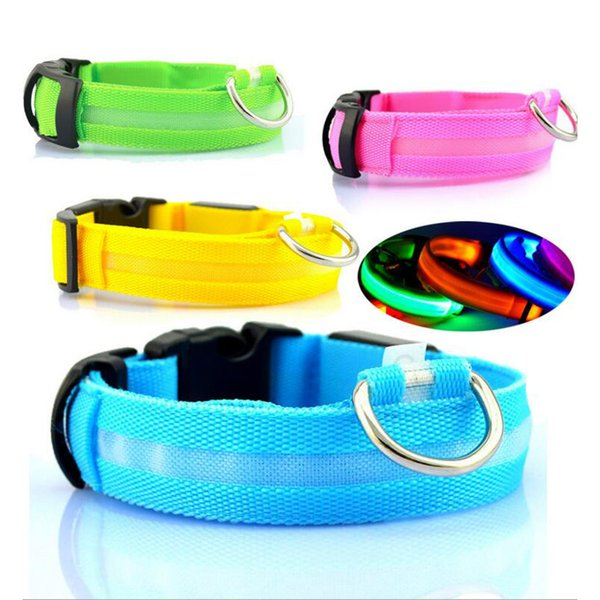 top popular Nylon LED Pet Dog Collar,Night Safety Flashing Glow In The Dark Dog Leash,Dogs Luminous Fluorescent Collars Pet Supplies 2019