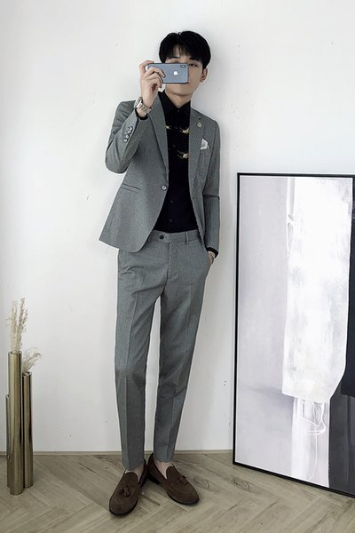 Autumn and winter new British style retro Slim Plaid business casual suit men's suit two-piece trend (top + pants)