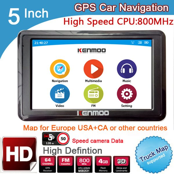 5 inch HD GPS Car Navigation CPU 800MHZ FM/8GB/DDR3 2018 Maps For Europe/USA+Canada TRUCK Navi Camper Caravan