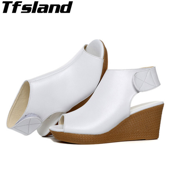 Women Peep Toe Sandals Wedges Soft Platform Walking Shoes For Women Sexy High Heels Leather Sandals Zapatos Mujer White Sneakers