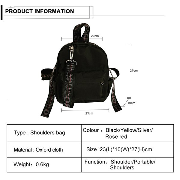 Fashion Hot Sale Young Ladies Backpack Girl Student School Bag For Laptop Oxford Backpacks For Women Travel bag Black Mochilas