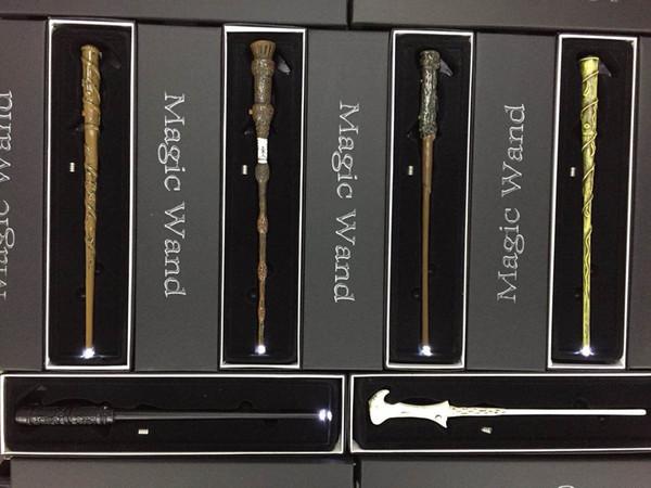LED Harry Potter Sihirli Değnek Light Up Hermione Voldermort Sihirli Wands Cadılar Bayramı Cosplay Sihirli Değnek Hediye Kutusunda 7 tasarımlar
