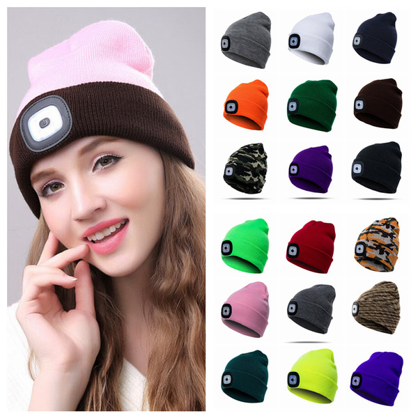 18styles Winter LED Light knitted Hat Casual Elasticity Keep Warm Knitting Cap warm outdoor sport Beanie cycling hat FFA931 20PCS