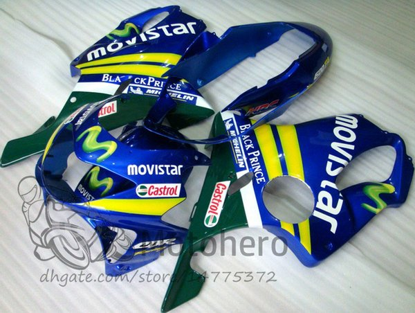 Injection molding Free Gifts Bodywork For HONDA CBR600 F4 1999 2000 CBR 600F4 99 00 Blue MOVEISTAR CBR 600 F4 99-00 FS Fairing Kit
