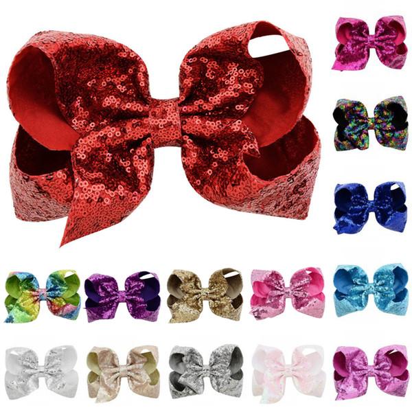 Free DHL 20 Styles JoJo Sequin Bows Hair Clips Grosgrain Ribbon Hair With Alligator Clips For Girls Children Christmas Gift H989Q