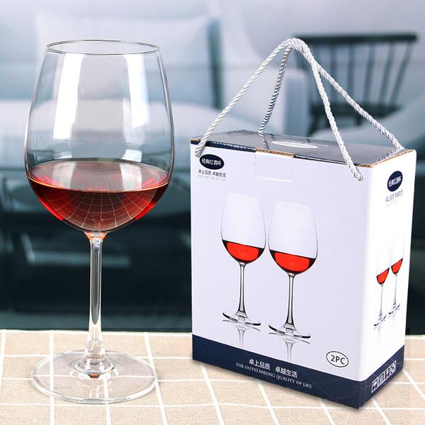 2 peças especiais de chumbo de cristal de vidro vermelho de alta taça de vidro 2 gift box set presente fábrica logotipo personalizado