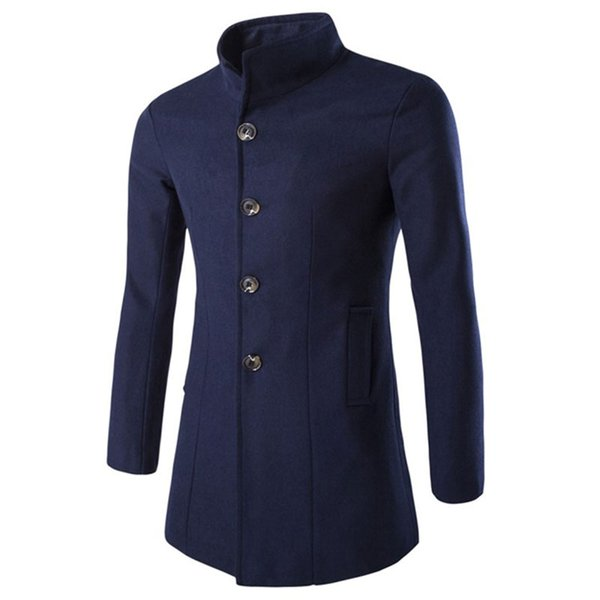 Men's Stand Collar Single Breasted Wool Winter Coats for Men Medium Long Jackets Man's Slim fit Peacoat 2018 Male Trench