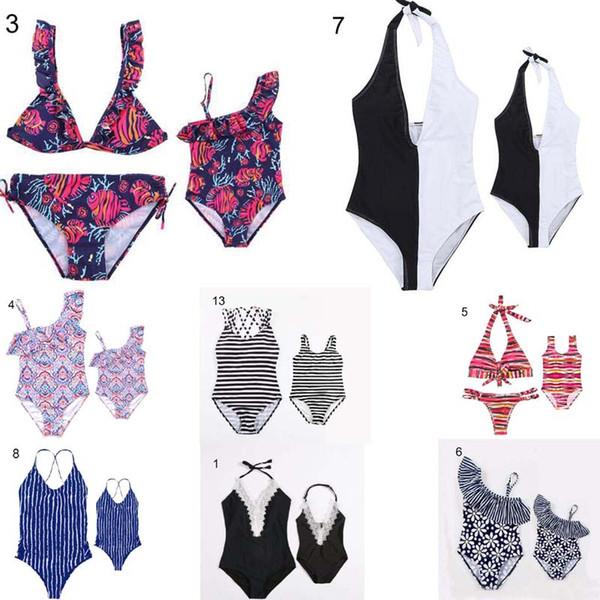 Famille Plage Bikini Ensembles Maillots De Bain De Vacances Mère Fille Famille Correspondant Fleurs Stripped Imprimer Une Pièce Bikinis Navire Libre