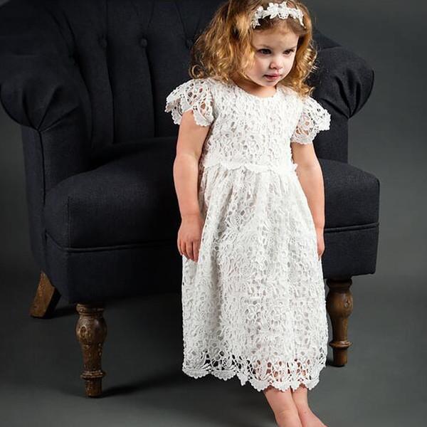 Großhandel Baby Kleidung Langes Kleid Weiß Hochzeitskleid Spitze Taufe 2018 Vestidos New Kleinkind Mädchen Kostüme Süßes Kind Mädchen Outfits Von
