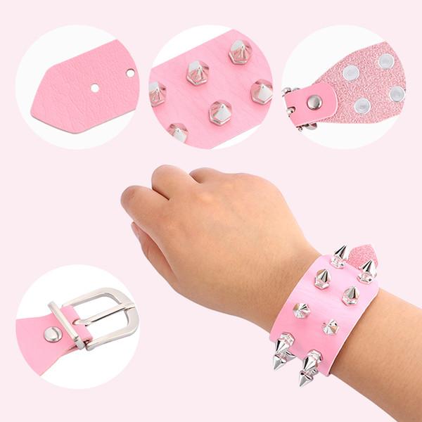 100% High Quality Punk Leather Bracelet Bangle Rivet Stud Spike Rock Cuff Wristband Jewelry Exotic Fashion Hot Sale
