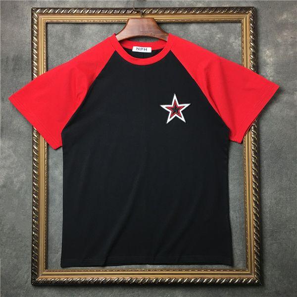 19ss hot new fashion summer camiseta hombres o-cuello algodón bordado pentagram camiseta camiseta moda hombres mujeres diseñador camiseta tops