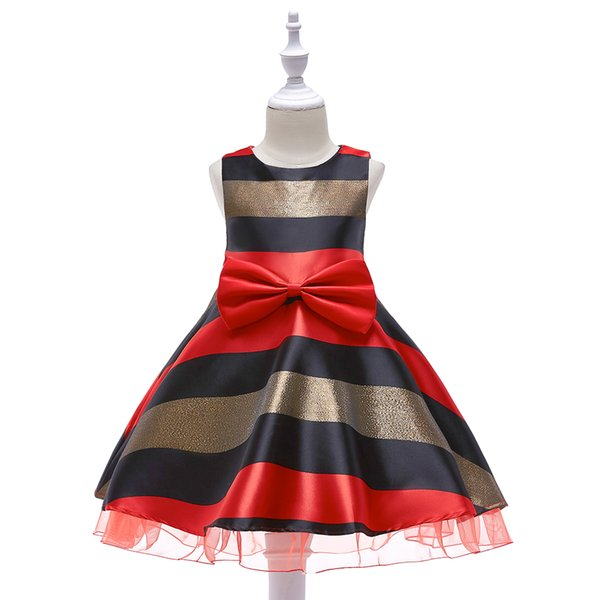 2018 SUMMWER COLLECTION Newest style girls Gauze bottom side Striped fashion dress skirt princess style dress with bow red and green
