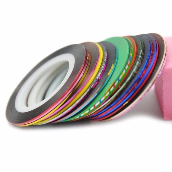 Todo para uñas 10 colores Rolls Striping Tape etiqueta engomada del clavo metálico DIY Art Design Stickers herramienta decoraciones de arte