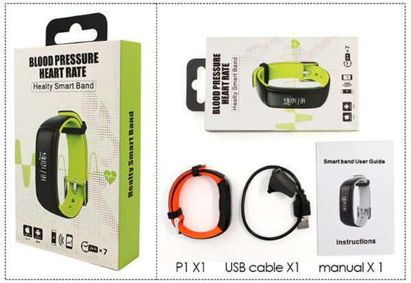 P1 Smartband Blutdruckmessgerät Smart Band Schrittzähler Aktivität Tracker Pulsmonitor Armband Fitness Armband Für Telefon DHL frei