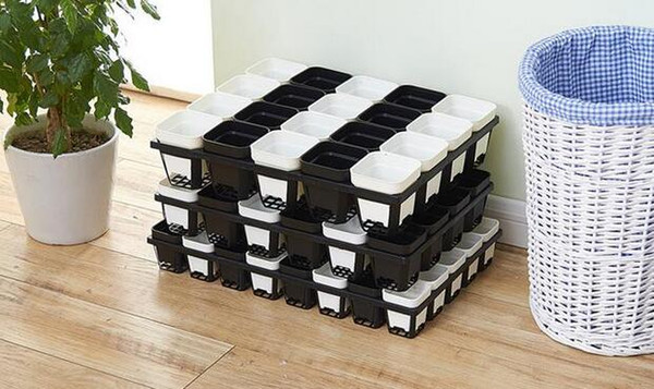 2018 Hot sales 50pcs MOQ 5 Size Option durable Square Plastic Pots for Plants, Cuttings & Seedlings Nursery Pots Living Garden Planters
