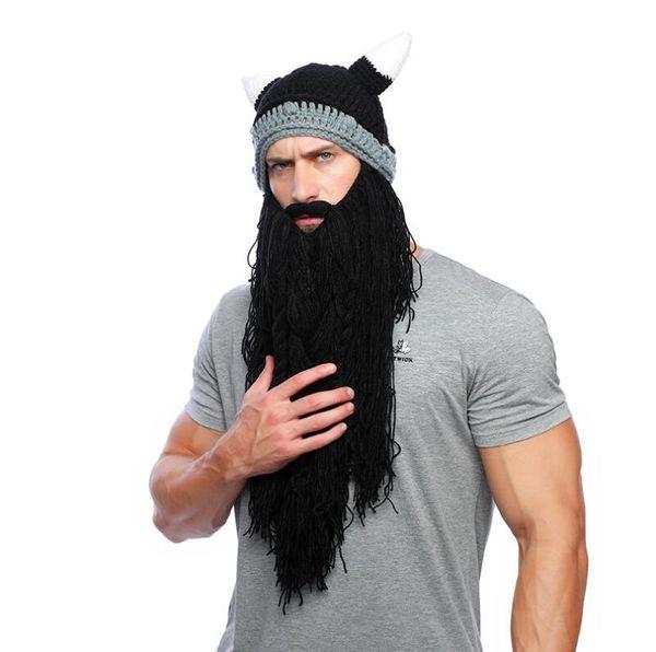 Men's Barbarian Vagabond Viking Long Beard Beanie Handmade Winter Warm Cap Horn Hats Funny Cosplay Masks Costume Accessories Halloween Mask
