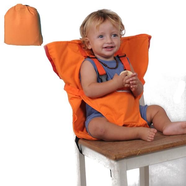 Acheter Chaise Haute Pour Bébé, Rehausseur De Harnais De Siège De Sécurité, Sac De Coussin De Sac, Ceinture Orange Réglable Pour Voyage Portable