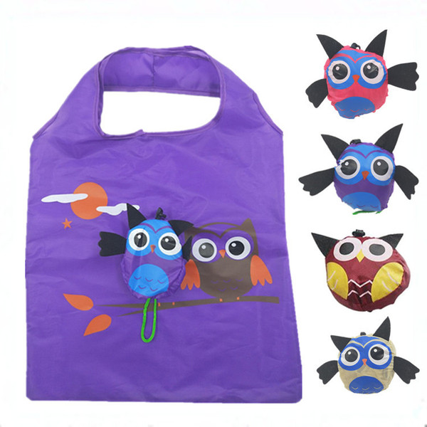 New Owl Polyester Folding Shopping Bag Animal Printed Eco Bag Creative Cute Foldable Handbag Shoulder Tote Resuable Shopping Storage Bags