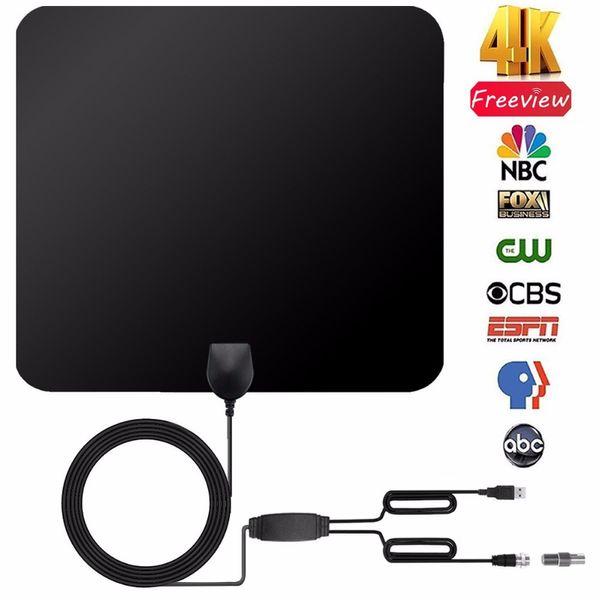 Indoor Digital TV Antenna Receiver 50 Miles Booster Flat Design 28DB High Gain USB Upgraded Version DVB-T2 DTMB