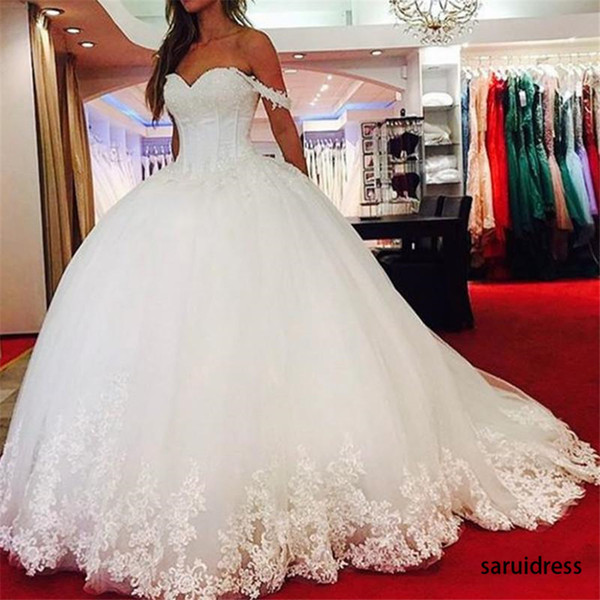 top popular Off Shoulder Tulle Appliques Lace Up Corset Sweetheart Bridal Gowns Church Country Style Ball Gown Puffy Wedding Dresses 2021