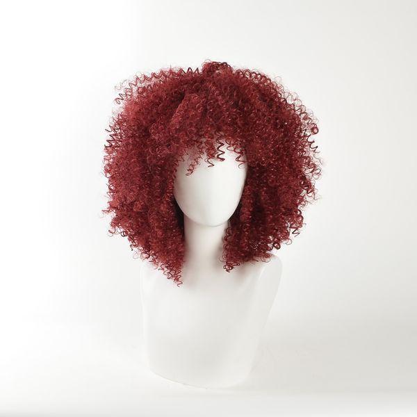 MSIWIGS Parrucche sintetiche ricci neri rossi per le donne nere Parrucca afro americana media americana piena naturale resistente al calore