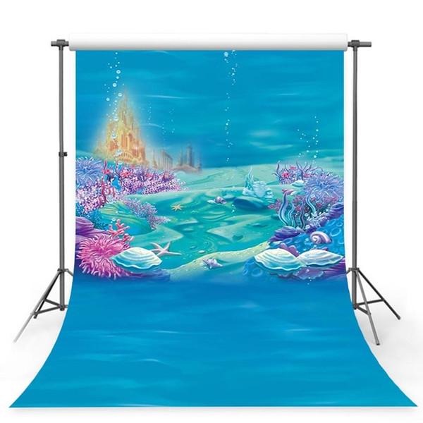 Vinil Küçük Denizkızı Altında Deniz Yatak Caslte Mercanlar Ariel Prenses Fotoğraf Zemin Bebek Parti Doğum Günü fotoğraf arka plan