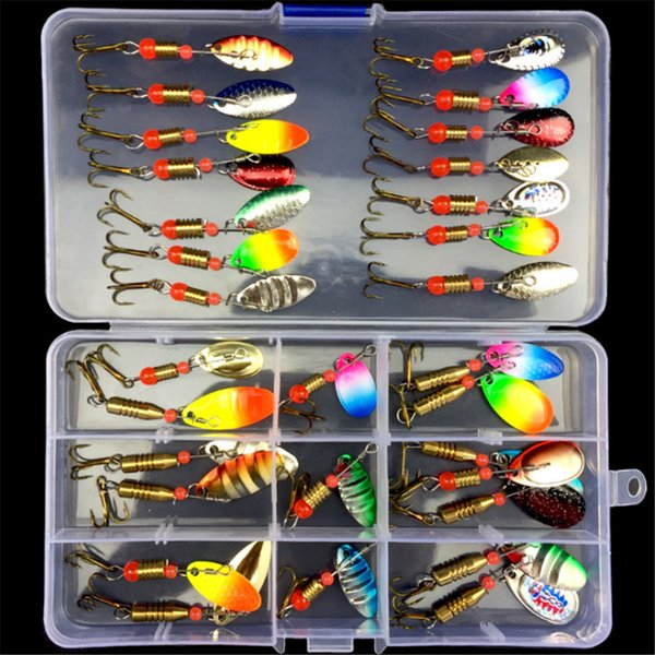 30pcs/10pcs Boxed Rotating Spoon Kit Lure Fishing Lures Artificial Baits Metal Fish Hooks Bass Trout Perch Pike Rotating Sequins Y18100806