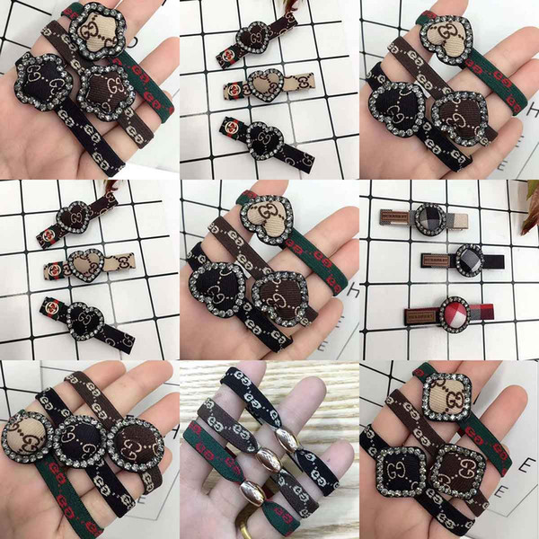 Delicate Brand Letter Design Hair Bands Hair Clamps Barrette Geometry Crystal Pattern Headware Elastic Rubber Hair Pnoytail Hairl Ties Ropes