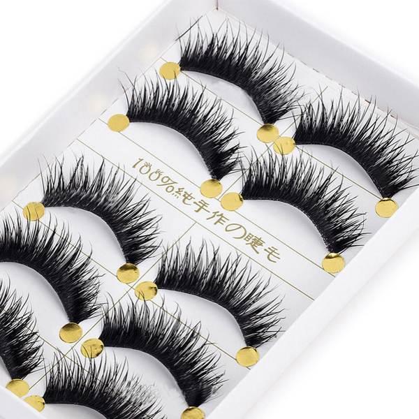 5Pair Fashion Charm Natural Cross False Eyelashes Fake Eye Lashes For Women Lady 100% Brand New