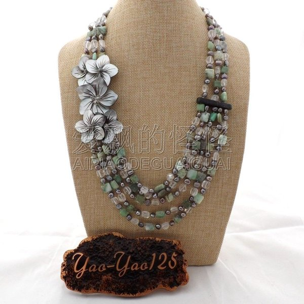 "N080127 24"" 5 Rows Gray Pearl Chrysoprase Crystal Shell Flower Statement Necklace"
