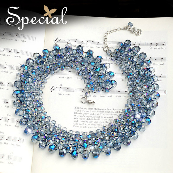 Special Fashion Crystal Choker Necklace Big Chunky Necklaces & Pendants Crystal Maxi Necklace 2017 Jewelry for Women XL150714
