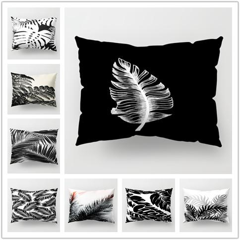 New Rectangle 30*50cm Black and White Cushion Cover Sofa Bed Home Car Pillow Case Leaves Printing Pillowcases