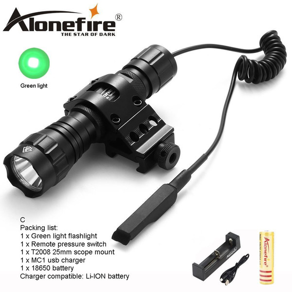 AloneFire CREE 501Bs Hunting LED Flashlight Green Light Long distance exposure Tactical Lantern Remote Pressure Switch Mount for 18650