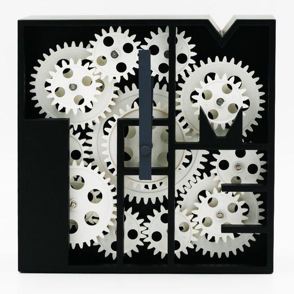 Criativo Cogs Relógio Cube Sala Relógios Criativos Relógios de Engrenagem Geométrica Material ABS Relógio Quarto Restaurante Retro