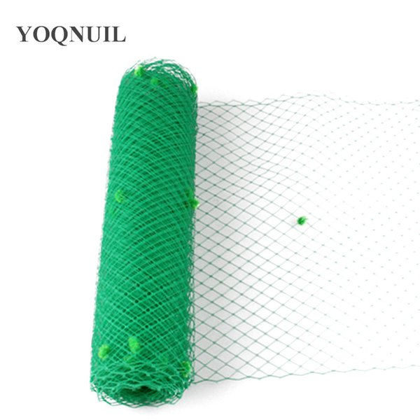 Green dots dots Birdcage Veils For women Millinery Hat Mesh Veil fabric nettings material women fascinator DIY Hair accessories 10yard/lot