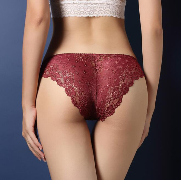 Mulher Sexy Lace Design Briefs Underwear Das Mulheres Low-Rise Calcinhas Quentes Underwear Cor Sólida Das Senhoras Lingerie Roupas Confortáveis