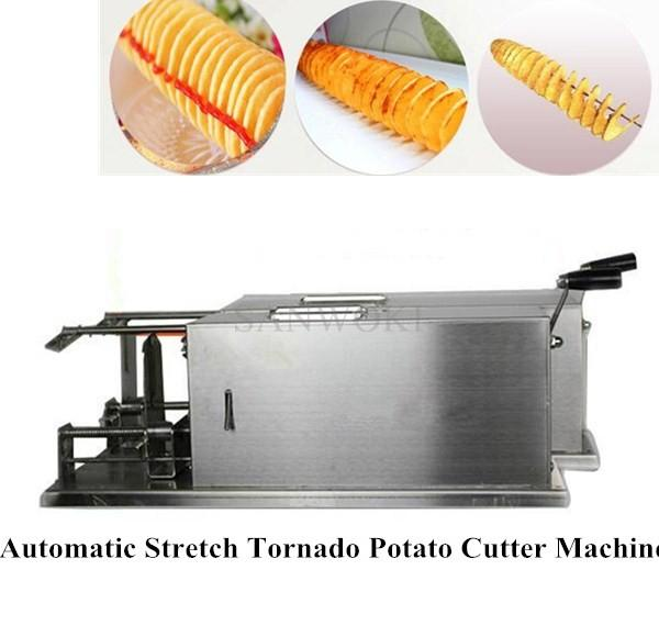 45mm length Automatic Stretch Tornado Potato Machine Spiral Potato Slicer Chips Cutter Fruit / Vegetable Tool;potato chips machine