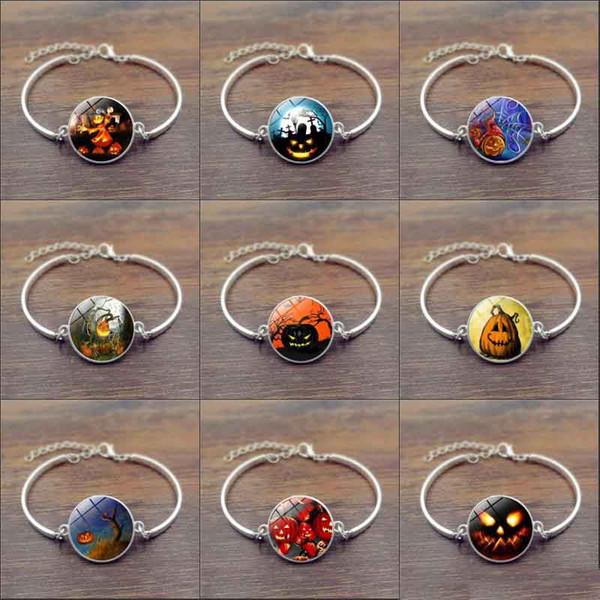 Charm Bracelet for Halloween Pumpkin Skull Bangles Art Photo Glass Cabochon Bracelets Time gem bracelet for Women