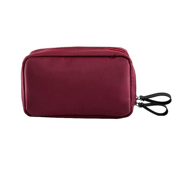 Wholesale- Fashion Multi Pockets Womens Trunk Cosmetic Bag Solid Color Double Zipper Portable Small Makeup Pouch