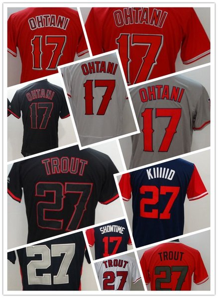 best service 97b6b 5d78f 2019 Los Angeles Mens Flexbase 27 Trout All Star Jersey 17 Shohei Ohtani  Showtime Baseball Jerseys Stitched Coolbase White Red Grey Black S From ...