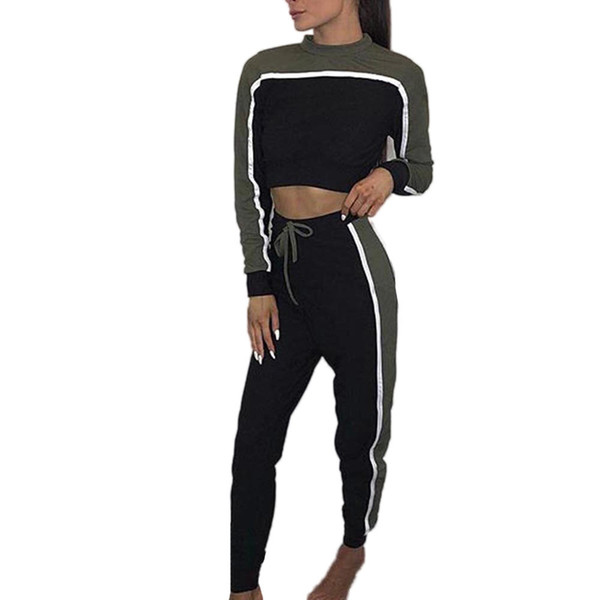 Spring Women 2 Piece Clothing Set Casual Crop Top +Long Pants Ladies Sexy Tracksuit Hoodie Suit Ropa Deportiva Mujer Female