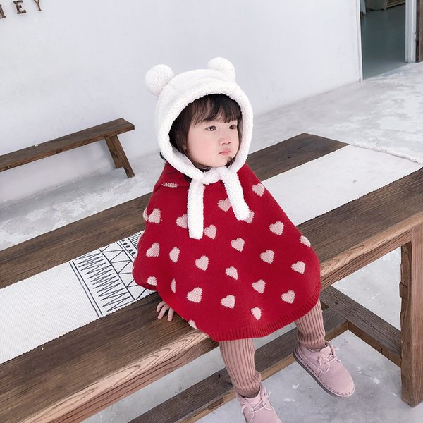 Infant Kids Coat for Girls Heart Pattern Sweater Poncho Girls Warm Hooded Coat Baby Winter Jacket Kids Designer Clothes