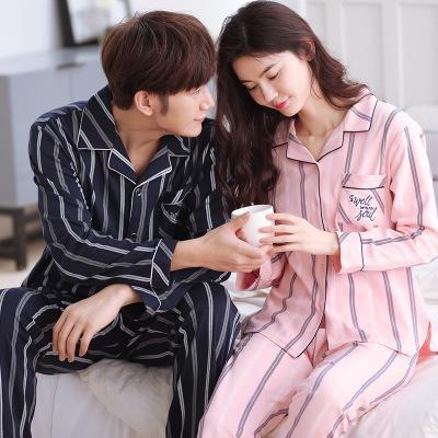 High Quality Lovers Pajamas Women 100% Cotton Striped Long-Sleeved Pajama Sets Men Pure Couple Pajamas For Men Set Sleepwear