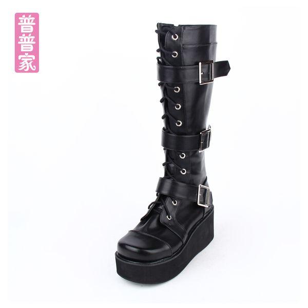 ss punk dolce scarpe punk giapponese vento spessi stivali alti in pizzo fondo COS muffin fibbia alti stivali moda donna pu9708